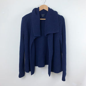 Talbots Soft Chunky Blue Open Front Cardigan